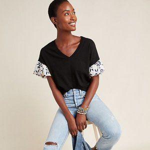 Anthropologie Tops - Black Amadi Floral Sleeve Top (NWT)